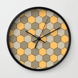Honeycombs op art beige Wall Clock