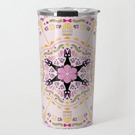 Cat & Sakura Mandala Travel Mug