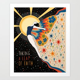 Taking a leap of faith Art Print