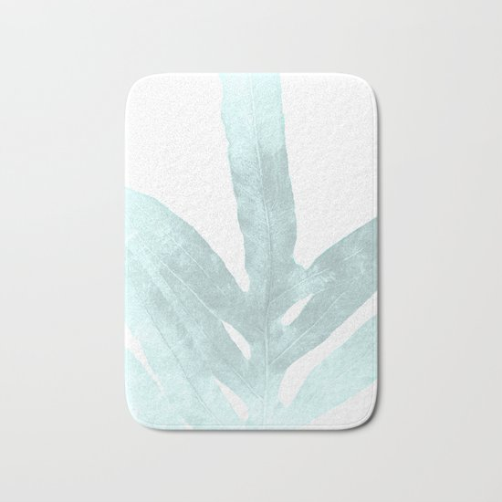 Ice Blue Fern in Summer White Bath Mat