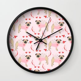 Pug love cupid dog costume valentines day pet gifts pugs Wall Clock