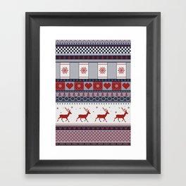 Scandinavian Christmas Pattern Framed Art Print