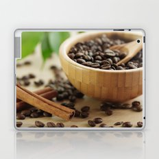 Still life of bamboo shell with fine Arabica coffee as kitchens Laptop & iPad Skin