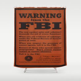 Vintage poster - Warning from the FBI Shower Curtain