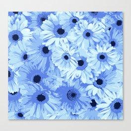 Gerbera Flowers, Petals, Blossoms - Blue Canvas Print
