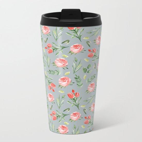 Roses. Grey pattern Metal Travel Mug