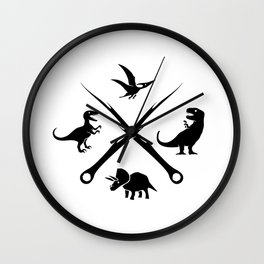 Hipster Dinosaurs Logo (black version) Wall Clock
