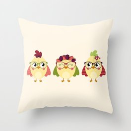Triplettes poussines Throw Pillow