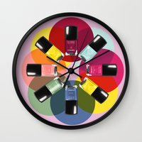 nail polish Wall Clocks featuring Designer Nail Polish Print by BeckiBoos