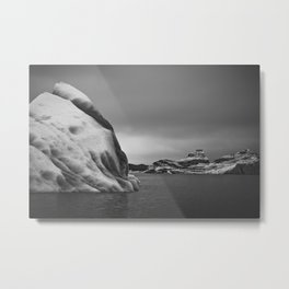 Icebergs in Black and White Metal Print