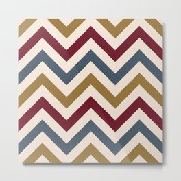 Funky Zigzag Pattern Gold Red Blue Cream Metal Print