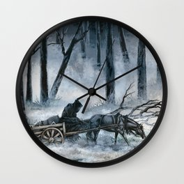 Grim Reaper with Horse in the Woods Wall Clock