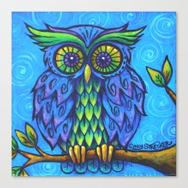 Owl in Blue Canvas Print