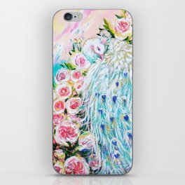 White peacock and roses iPhone Skin