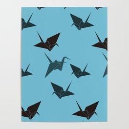 Blue origami cranes Poster
