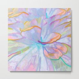 Soft Pastel Painted Petals Abstract Metal Print