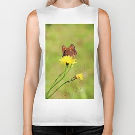 Arran Brown butterfly and yellow flower Biker Tank