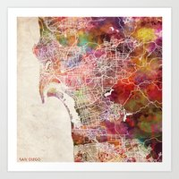 san diego Art Prints featuring San Diego by MapMapMaps.Watercolors