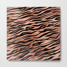 Rose Gold Metallic Stylish Tiger Fur Stripes Print Metal Print