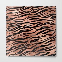 Rose Gold Metallic Stylish Tiger Fur Stripes Print Metal Print