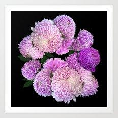 Floral rhapsody - night Art Print