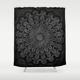 Dark Geometric mandala pattern Shower Curtain