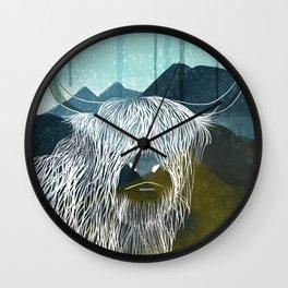 Highland Cattle Mountain Love Wall Clock