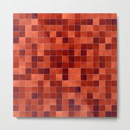 Red Tiles Metal Print
