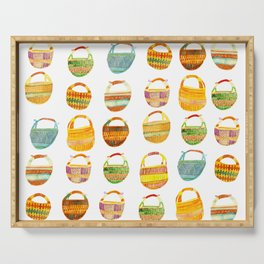 Colorful Watercolor Baskets Pattern Grid Serving Tray