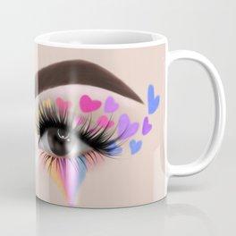 Rainbow Heart Eyeshadow Make-Up Look Coffee Mug