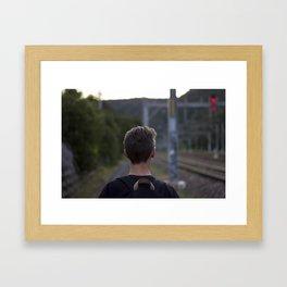 Walking the tracks Framed Art Print