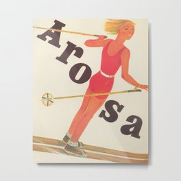 Arosa, Switzerland Vintage Ski Travel Poster Metal Print