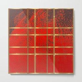 Elves Window - Red Geometric Watercolor Metal Print
