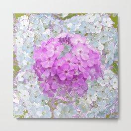 LILAC & WHITE PHLOX FLOWERS Metal Print