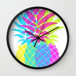 Hot Pink Pineapple Wall Clock