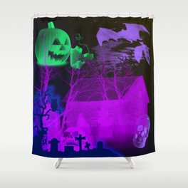 Eerie Halloween Graveyard, Grinning Skulls and Swooping Bats Shower Curtain