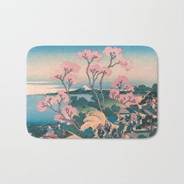 Spring Picnic under Cherry Tree Flowers, with Mount Fuji background Bath Mat