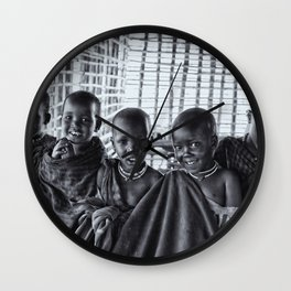 4239 Portrait of Young Maasai Children - Black and White Wall Clock