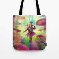 mad hatter Tote Bags featuring Mad Hatter by dreamshade