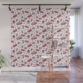 Skyline Chili Pattern Red Wall Mural