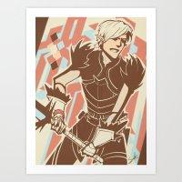 dragon age Art Prints featuring Dragon Age: Fenris by Sara Cuervo