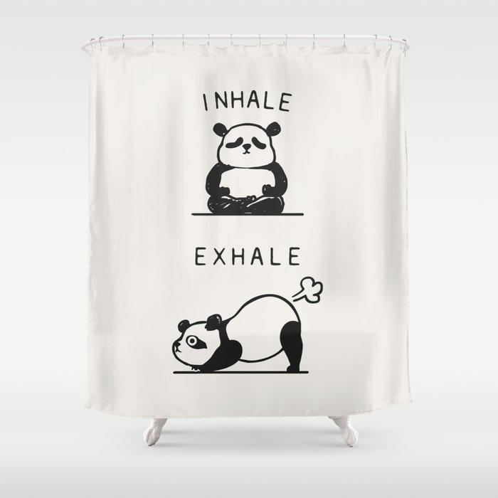 Inhale Exhale Panda Shower Curtain