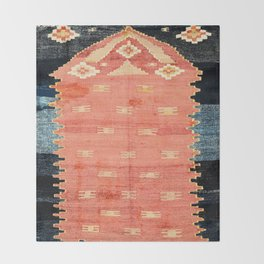 South West Anatolia  Antique Turkish Niche Kilim Print Throw Blanket