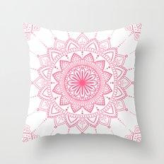 Rosy Mandala Throw Pillow
