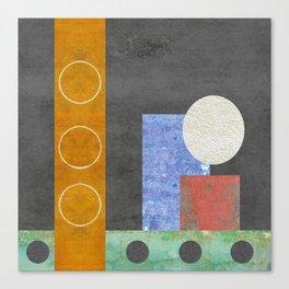 Gray, white,purple,orange, Smidge of Pink Geometric Canvas Print