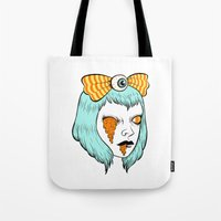 alisa burke Tote Bags featuring candy corn melt by Ally Burke