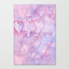 Pink Hearts Pattern Canvas Print