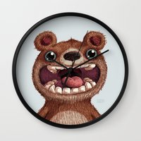bioworkz Wall Clocks featuring Eddy by Greg Abbott