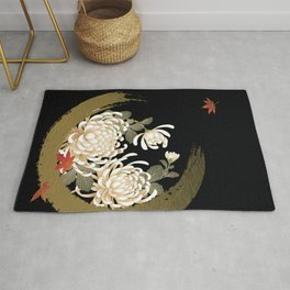 White Peonies Red Maple Leaves Japanese Kimono Pattern Rug
