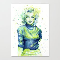 Marilyn Portrait Watercolor Painting Actress Old Hollywood Canvas Print